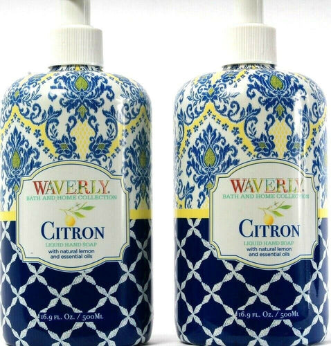 2 Count Waverly  Bath Home Collection Citron Liquid Hand Soap Lemon 16.9Fl oz