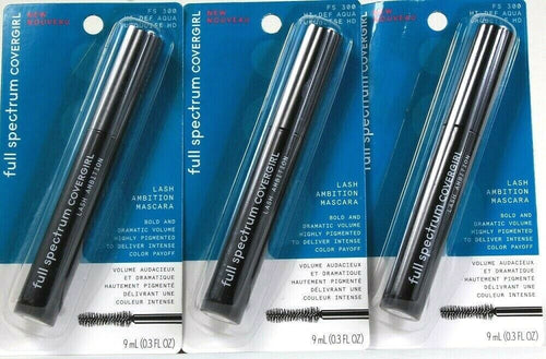 3 Covergirl Full Spectrum FS 300 Hi Def Aqua Turquoise HD Lash Ambition Mascara
