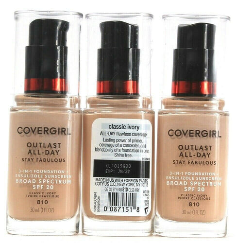 3 Covergirl Outlast 3 In 1 Foundation Broad Spectrum SPF20 Classic Ivory 810 1oz