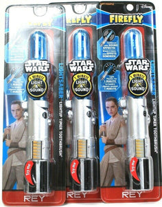 3 Firefly Star Wars Rey Lightsaber 1 Min Light Up Timer & Sound Soft Toothbrush