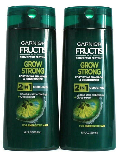 2 Garnier Fructis Grow Strong Shampoo Conditioner For energized Hair 22oz