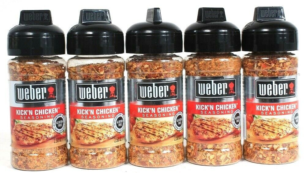 5 Weber 2.5oz Kick'N Chicken Gluten Free No MSG Heat & Flavor Seasoning BB 10/22