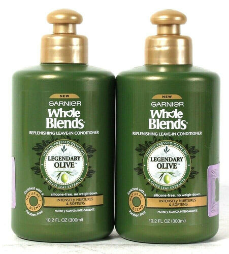 2 Garnier 10.2 Oz Whole Blends Legendary Olive Replenish Leave In Conditioner