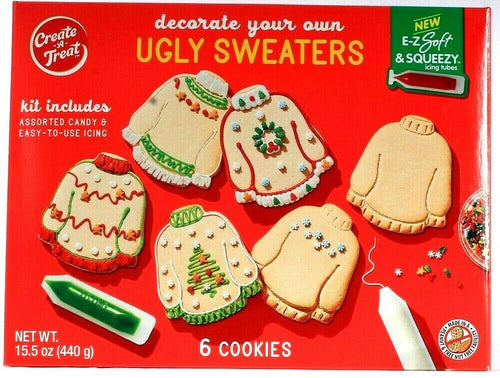1 Create a Treat Decorate Your Own Ugly Sweaters Kit 6 Cookies Includes Candy