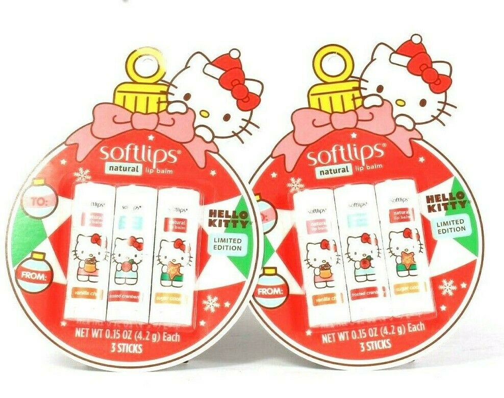 2 Softlips Hello Kitty Limited Edition 3 Ct Vanilla Cranberry Cookie Lip Balm