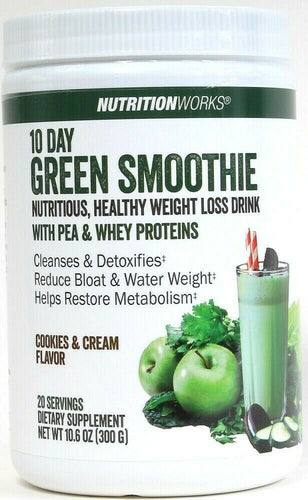 1 NutritionWorks 10.6 Oz Cookies & Cream 10 Day Weight Loss Green Smoothie