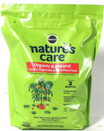 Miracle Gro Nature's Care 3 Lb Organic Natural Tomato Veggie & Herb Plant Food