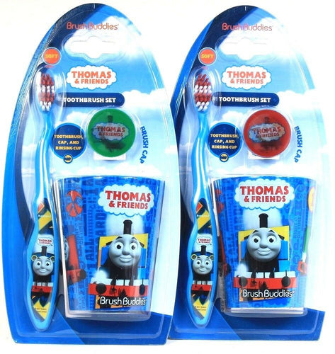 2 Count Brush Buddies Thomas & Friends Cap Rinsing Cup & Soft Toothbrush Set