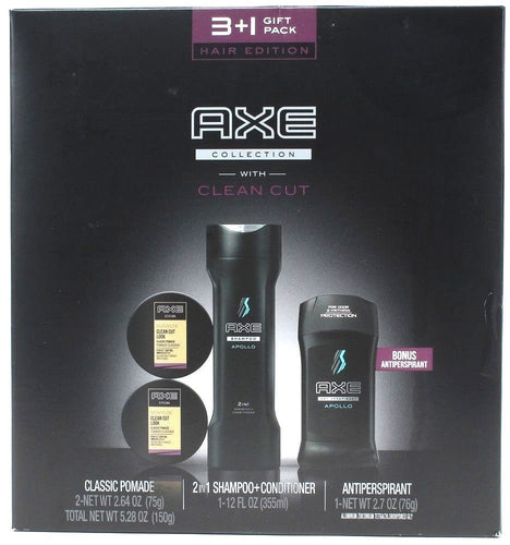 Axe Hair Edition 4 Piece Gift Set Shampoo Plus Conditioner Antiperspirant Pomade