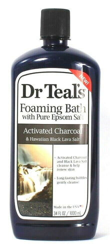 1 Dr Teal's 34 Oz Activated Charcoal Foam Bath With Pure Epsom & Lava Salt