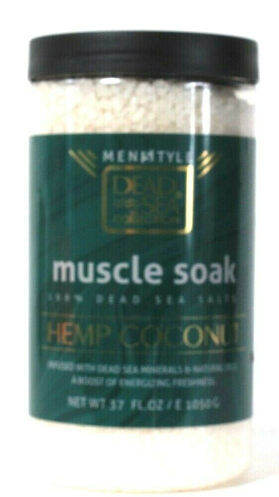 1 Count Dead Sea Collection 37 Oz Men Hemp Coconut 100% Natural Salt Muscle Soak