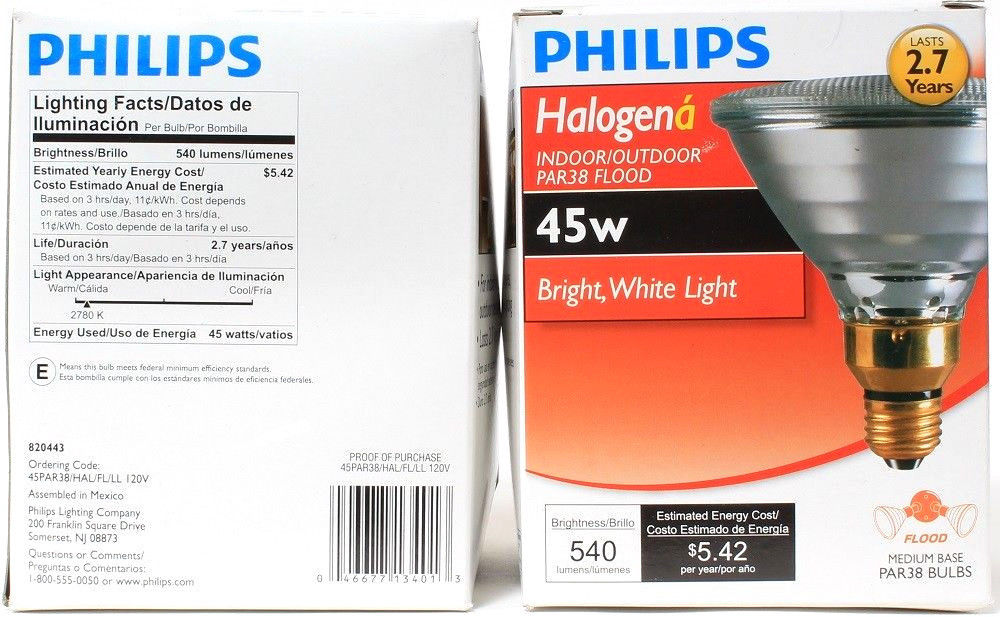 2 Philips Halogen Interior Exterior DIFUSA PAR38 Flood Medium Base Bright White