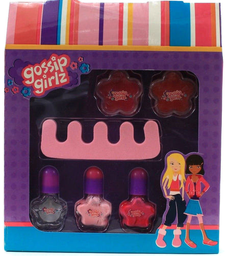1 Gossip Girlz Chit Chat B Contains 2 Flower Lip Gloss Pot 3 Nail Polish Toesie