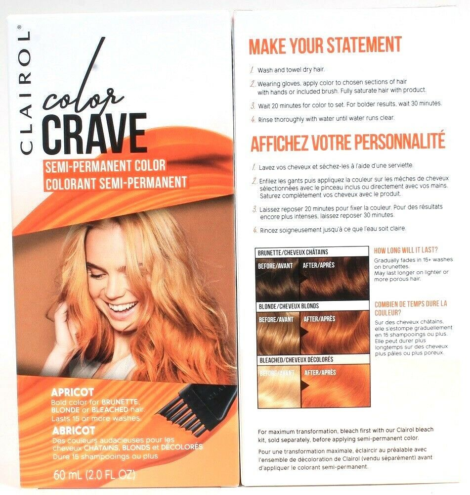2 Clairol Color Crave Apricot Bold Semi Perm Dye For Brown Blonde Bleached Hair