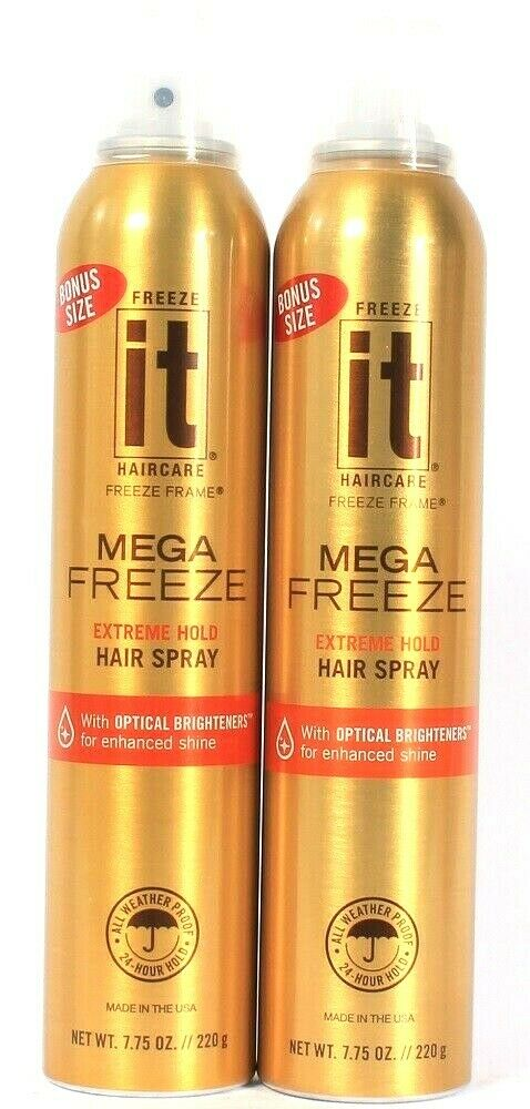 2 Cans It Haircare 7.75 Oz Mega Freeze Extreme Hold Optical Bright Hair Spray