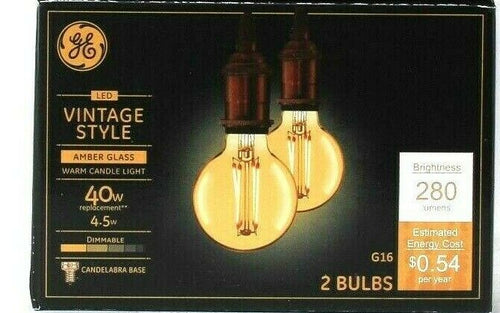 1 Boxes GE LED Vintage Style 4.5w Amber Glass Warm Candle Light G16 2 Ct Bulbs