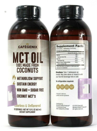 2 Ct Cafegenix 15 Oz MCT Oil 100% Made From Coconuts Sustain Energy Unflavored