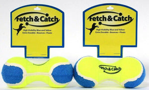 2 Count Fetch & Catch High Visibility Blue & Yellow Durable Bounce Floats Toy