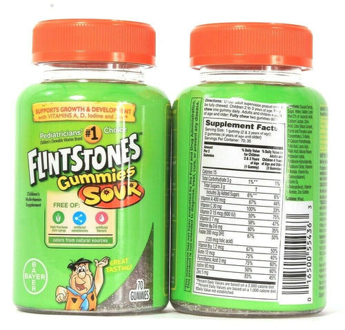 2 Bayer Flintstones Gummies Sour 70 Count Children's Multivitamin Supplement
