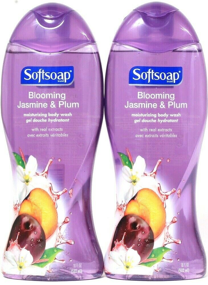 2 Ct Softsoap 18 Oz Blooming Jasmine & Plum Real Extracts Moisturizing Body Wash