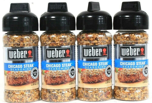 4 Ct Weber 2.50 Oz Chicago Steak Gluten Free No MSG Seasoning BB 3/15/20