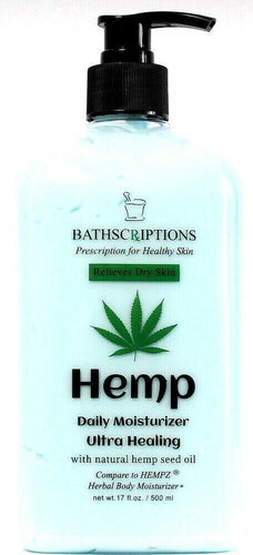 1 Bottle Bathscriptions 17oz Natural Hemp Seed Oil Pomegranate Daily Moisturizer