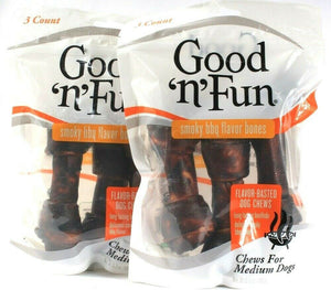 2 Bags Good N Fun 6.3 Oz Smoky BBQ Flavor Bones For Medium Size Dogs Dog Chews