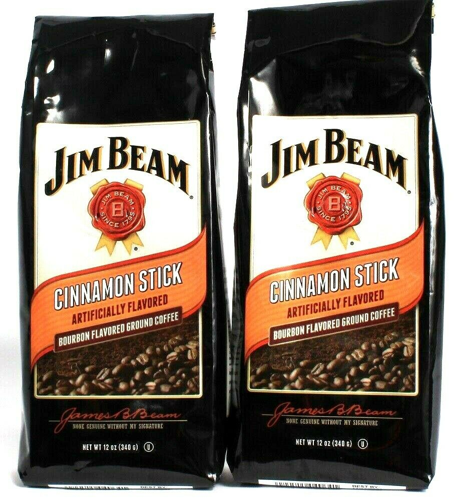 2 Bags Jim Beam 12 Oz Cinnamon Stick Bourbon Flavored Ground Coffee BB 11/2021