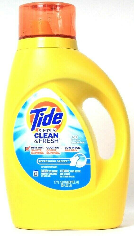 1 Bottle Tide 60 Oz Simply Clean & Fresh Refreshing Breeze 38 Loads Detergent