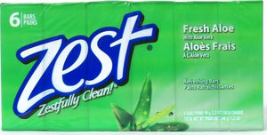 1 Pack Zest 1.2 Lb Fresh Aloe 6 Count Refreshing Rich Lather Moisture Soap Bars