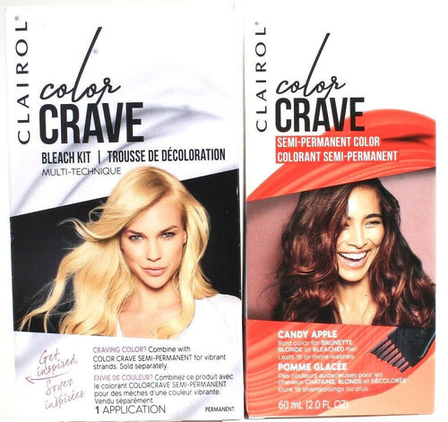 1 Clairol Color Crave Bleach Kit & Candy Apple Bold Semi Permanent Hair Dye Set