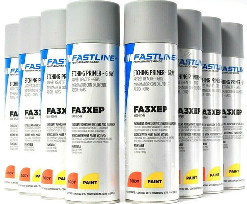 8  Fastline FA3XEP Etching Primer Gray Excellent Adhesion Body Paint Spray 15 Oz
