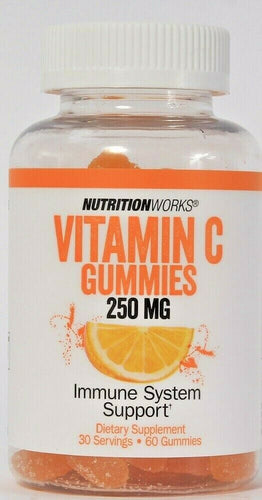 1 Bottle NutritionWorks Vitamin C 250 Mg Immune System Support 60 Count Gummies