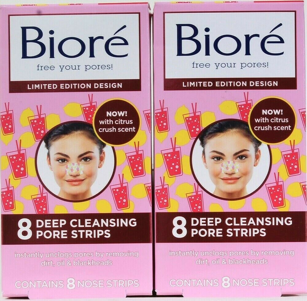 2 Boxes Biore Limited Edition Citrus Crush Scent 8 Ct Deep Pore Cleansing Strips