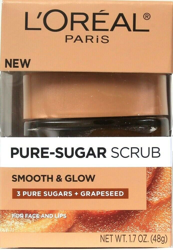 1 L'Oreal Paris 1.7 Oz Smooth & Glow 3 Pure Sugars & Grapeseed Face & Lips Scrub