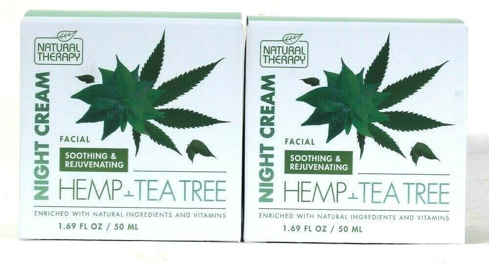 2 Ct Natural Therapy 1.69 Oz Hemp & Tea Tree Soothing & Rejuvenating Night Cream