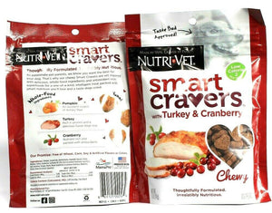 2 Nutri Vet Smart Cravers With Turkey & Cranberry Chewy Dog Treats5 oz