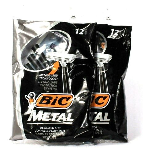 2 Bags Bic Metal Guard Technology For Coarse Curly Hair 12 Ct Single Blade Razor