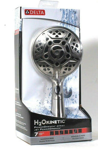 1 Delta H2O Kinetic PowerDrench 7 Spray Jets Brushed Nickel Finish Handshower