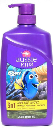 Aussie Kids 29.2 Oz Finding Dory 3n1 Coral Reef Cupcake Shampoo Cond Body Wash