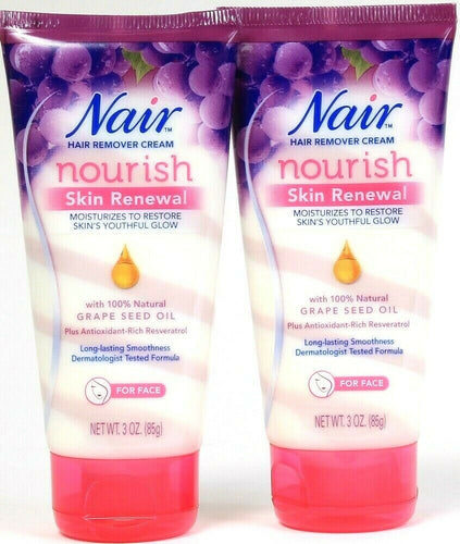2 Nair 3 Oz Nourish Skin Renewal Natural Grape Seed Oil Face Hair Remover Cream