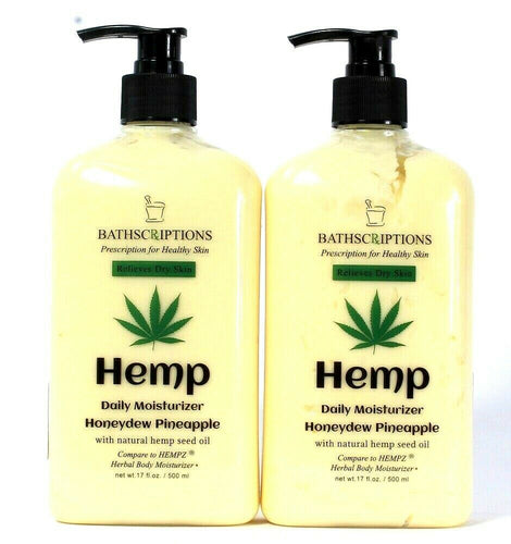 2 Count Bathscriptions 17 Oz Hemp Seed Oil Honeydew Pineapple Daily Moisturizer