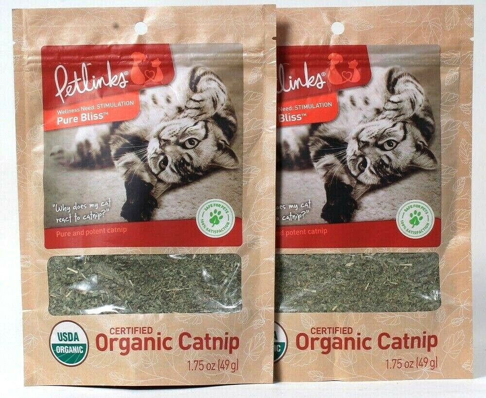 2 Bags Petlinks 1.75 Oz Pure Bliss Certified Organic Pure And Potent Catnip