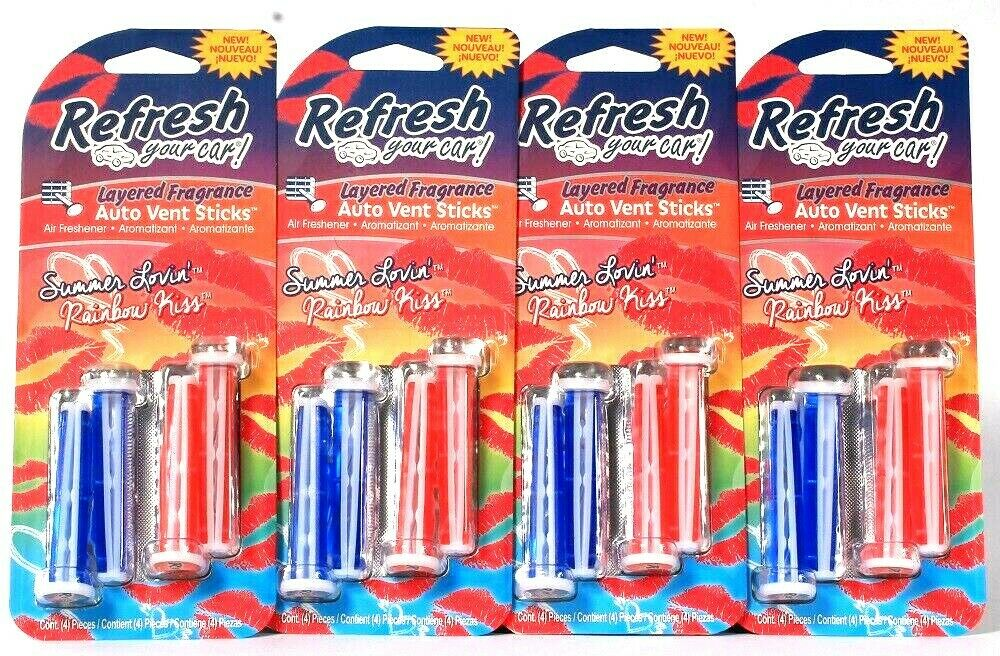 4 Refresh Your Car Layered Summer Lovin & Rainbow Kiss 4 Count Auto Vent Sticks