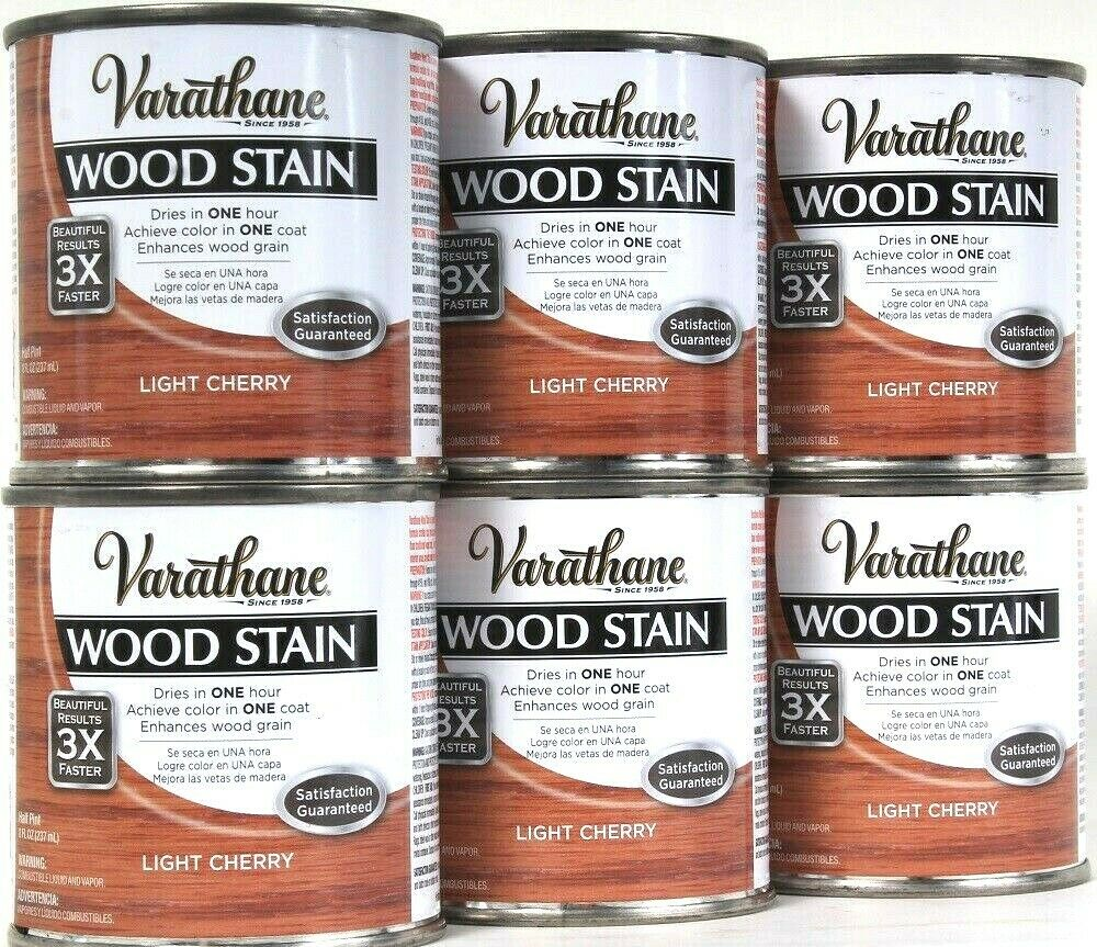 6 Cans Varathane 8 Oz Ultimate Wood Stain One Coat 266268 Light Cherry 1 Hr Dry