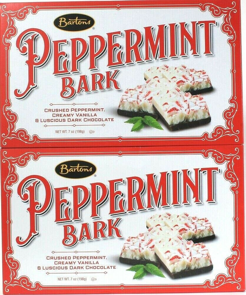 2 Boxes Bartons 7 Oz Creamy Vanilla & Luscious Dark Chocolate Peppermint Bark