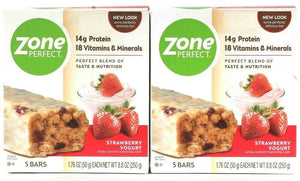 2 Boxes Zone Perfect 8.8 Oz Strawberry Yogurt 14g Protein 5 Count Nutrition Bars