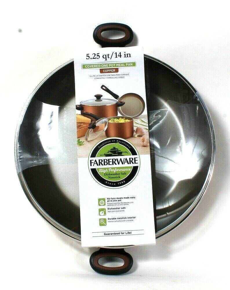 1 Farberware 5.25 Qt High Performance Copper Nonstick Covered One Pot Meal Pan