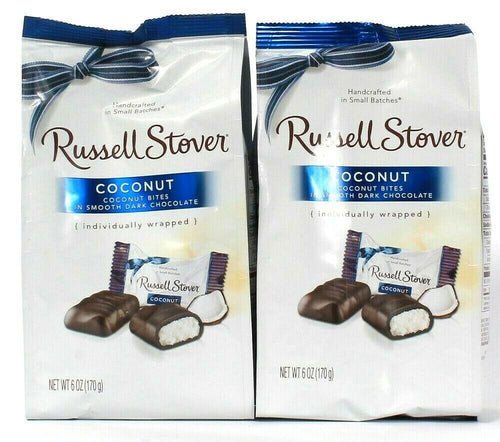 2 Russell Stover 6 Oz Coconut Bites In Smooth Dark Chocolate Individual Wrapped