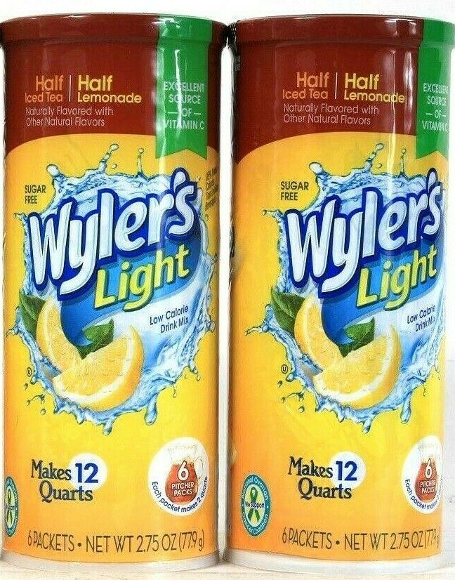 2 Wyler's 2.75 Oz Light Half Ice Tea Half Lemonade 6 Ct Drink Mix Pitcher Packs